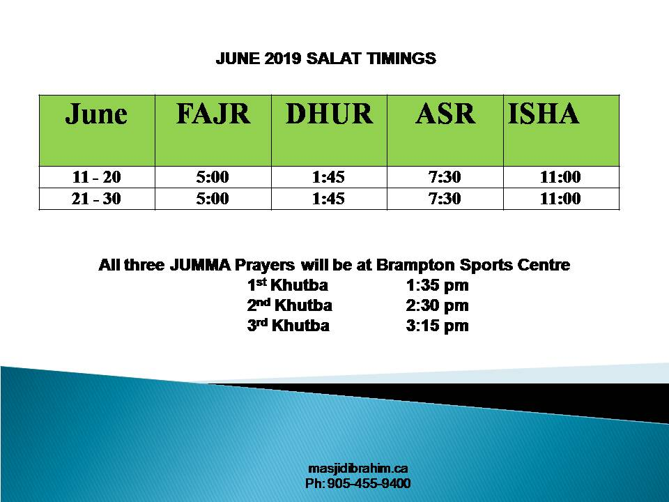 Monthly Prayer Times – Masjid Ibrahim